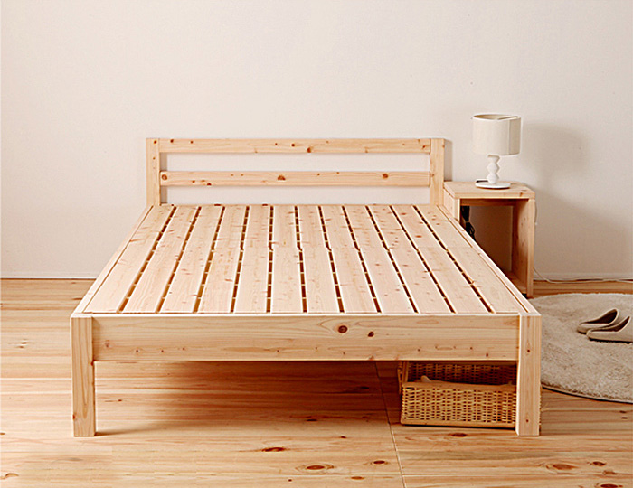 【クーポンSALE開催中】ベッド ベッドフレーム シングルベッド ダブルサイズ 国産 F☆☆☆☆ 国産ひのき使用 木製 スノコベッド 脚付き 高さ変更出来るベッド 寝室 シンプル ひのき 代引き不可
