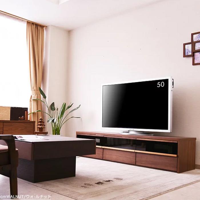 【クーポンSALE開催中】 テレビボード 幅200cm TVボード ウォールナット チェリー テレビ台 リビング リビングボード 大型 ロータイプ TV台 AVボード AV収納 家具通販 大川の家具
