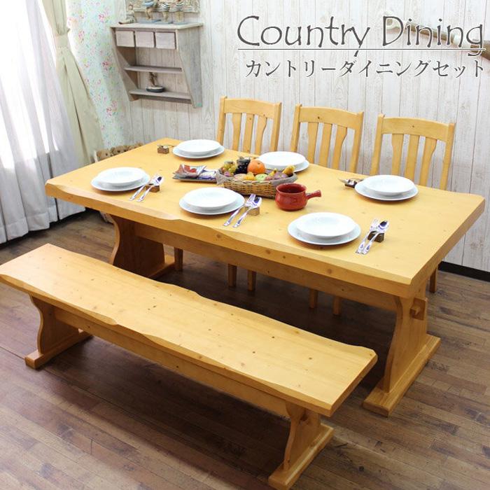 【クーポン配布中】ダイニングテーブルセット 5点セット 幅180cm カントリー 木製 無垢 北欧パイン 6人掛け ダイニング5点セット カントリー家具 ベンチ 食卓 チェア- 椅子 テーブル ダイニングチェア- シンプル 北欧 丈夫な家具