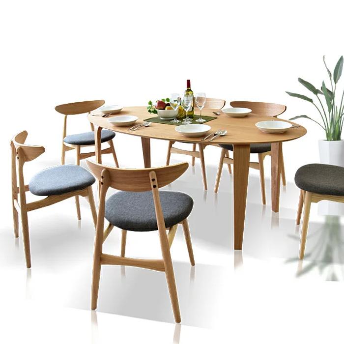 ダイニングテーブルセット 幅180 7点セット 木製 楕円テーブル ダイニングテーブル7点セット ダイニングチェアー 北欧 ダイニングテーブル 食卓 テーブルセット 6人掛け モダン ナチュラル