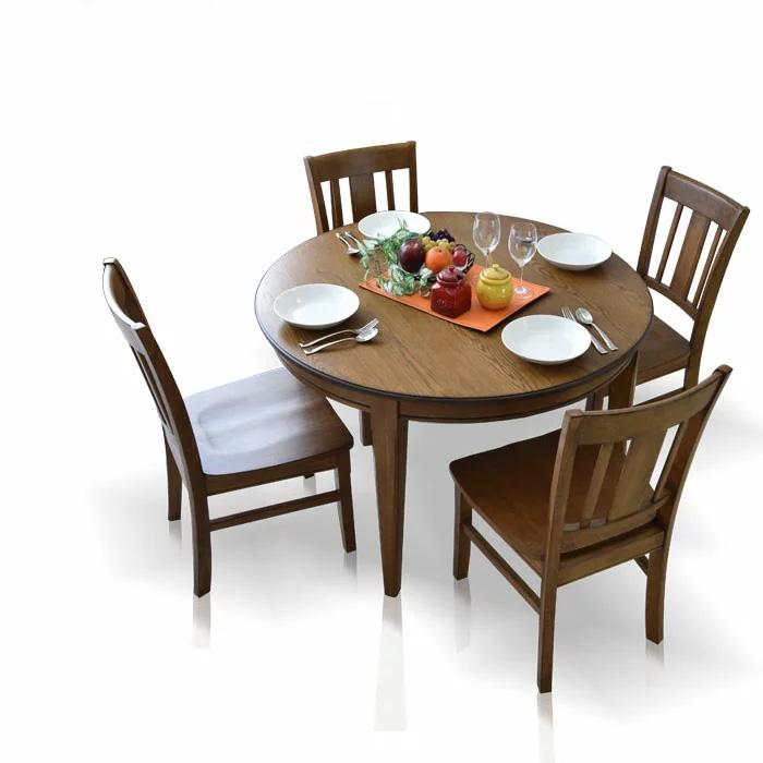 ダイニングテーブルセット 112cm ダイニングセット ダイニング5点セット 4人掛け ダイニングチェア 丸 円 ダイニングテーブル 食卓 食卓セット テーブル チェア 椅子 イス シンプル レトロテイスト 板座面 PVC座面