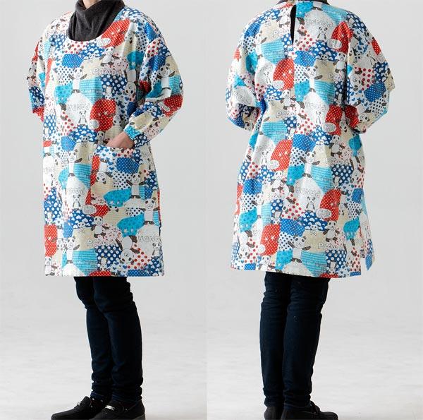 お母さんやおばあちゃんへのプレゼントに 人気上昇中 低廉 たっぷり 割烹着かっぽう着フリーサイズ角スリットタイプ649赤パンダ生地も縫製も日本製 ゆったりかっぽう着