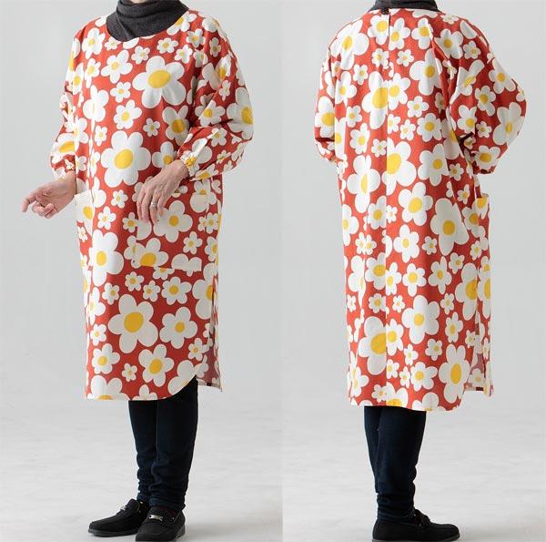 お母さんやおばあちゃんへのプレゼントに たっぷり ゆったりかっぽう着 宅送 大人気! フリーサイズ丈長丸スリットタイプ627オレンジ花柄生地も縫製も日本製 割烹着