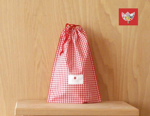 氏名票つきはし袋 AL完売しました 推奨 Lサイズランチョンマットとはし箱がいっしょに入れられます赤と白のギンガムチェックりんぱぱs1