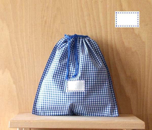 品質保証 優先配送 氏名票つきお着替えいれ巾着型青と白のギンガムチェック紺ステッチf3