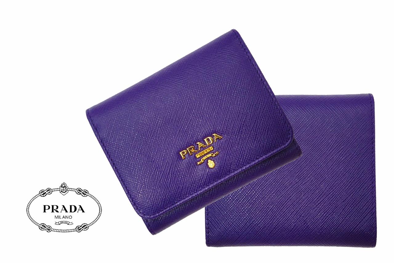 D244 PRADA プラダ 3つ折り 財布 1MH176 パープル SAFFIANO METAL VIOLA 女 レディース 新品