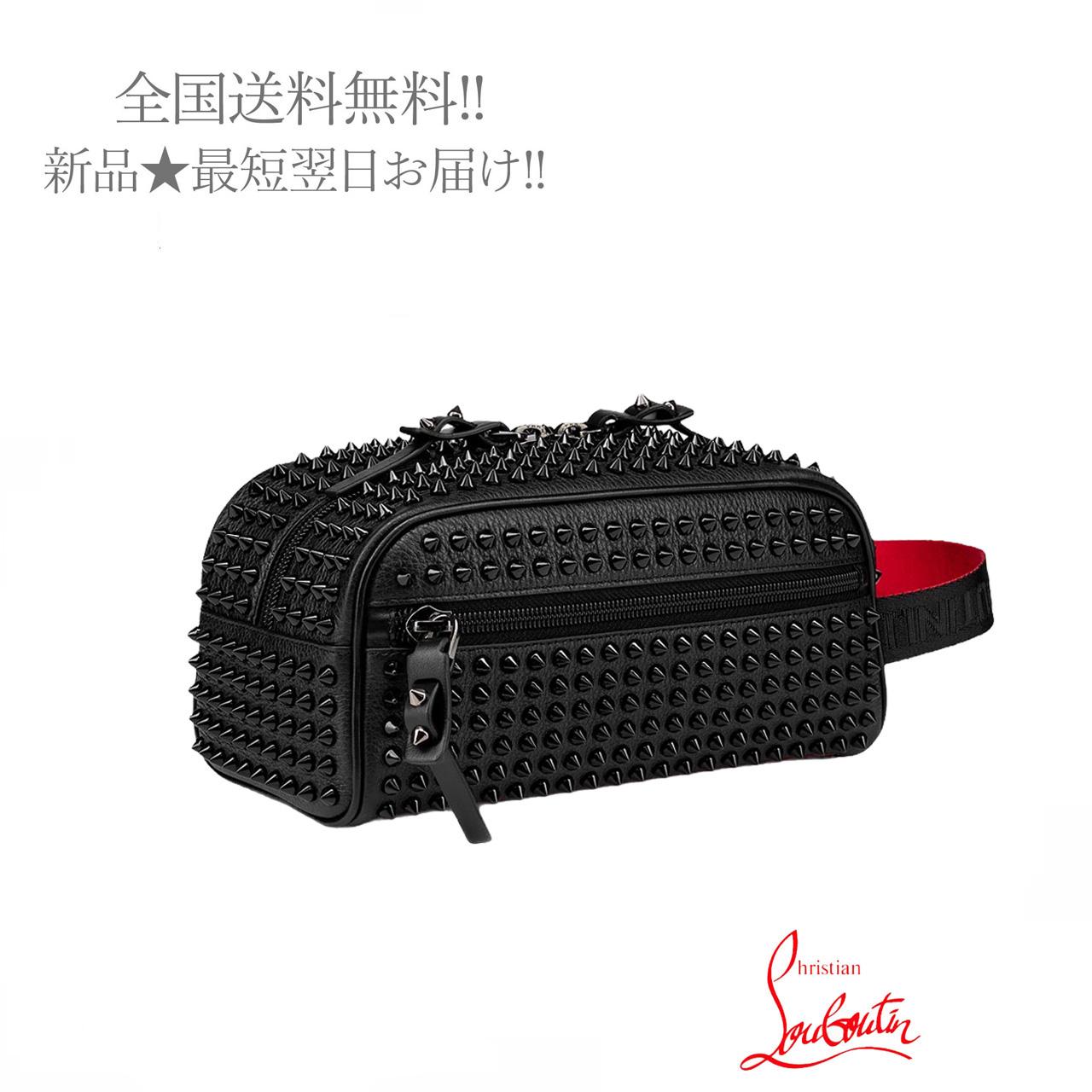 Christian LouBoutin クリスチャン ルブタン Blaster ハンドルバッグ 新品 SNEAKERS BAG 格安 価格でご提供いたします BLACK 与え 男 メンズ