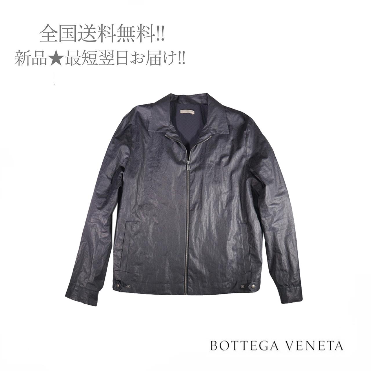 BOTTEGA VENETA ボッテガ 特価キャンペーン ヴェネタ ブルゾン 爆買い新作 レザー リネン 新品 メンズ 4030 男 50 ダークネイビー