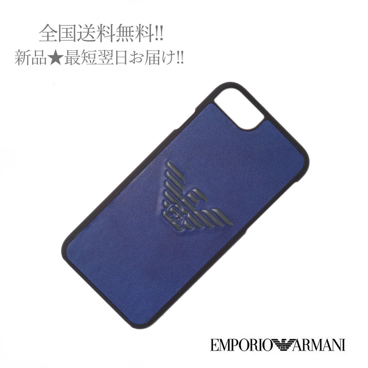 EMPORIO 期間限定の激安セール ARMANI エンポリオ アルマーニ iPhone 2020 新作 6 6s 7 8 SE 第2世代 PU LISCIO 83197 G. 新品 ロゴ メンズ 男 BLUE ELECTRIC