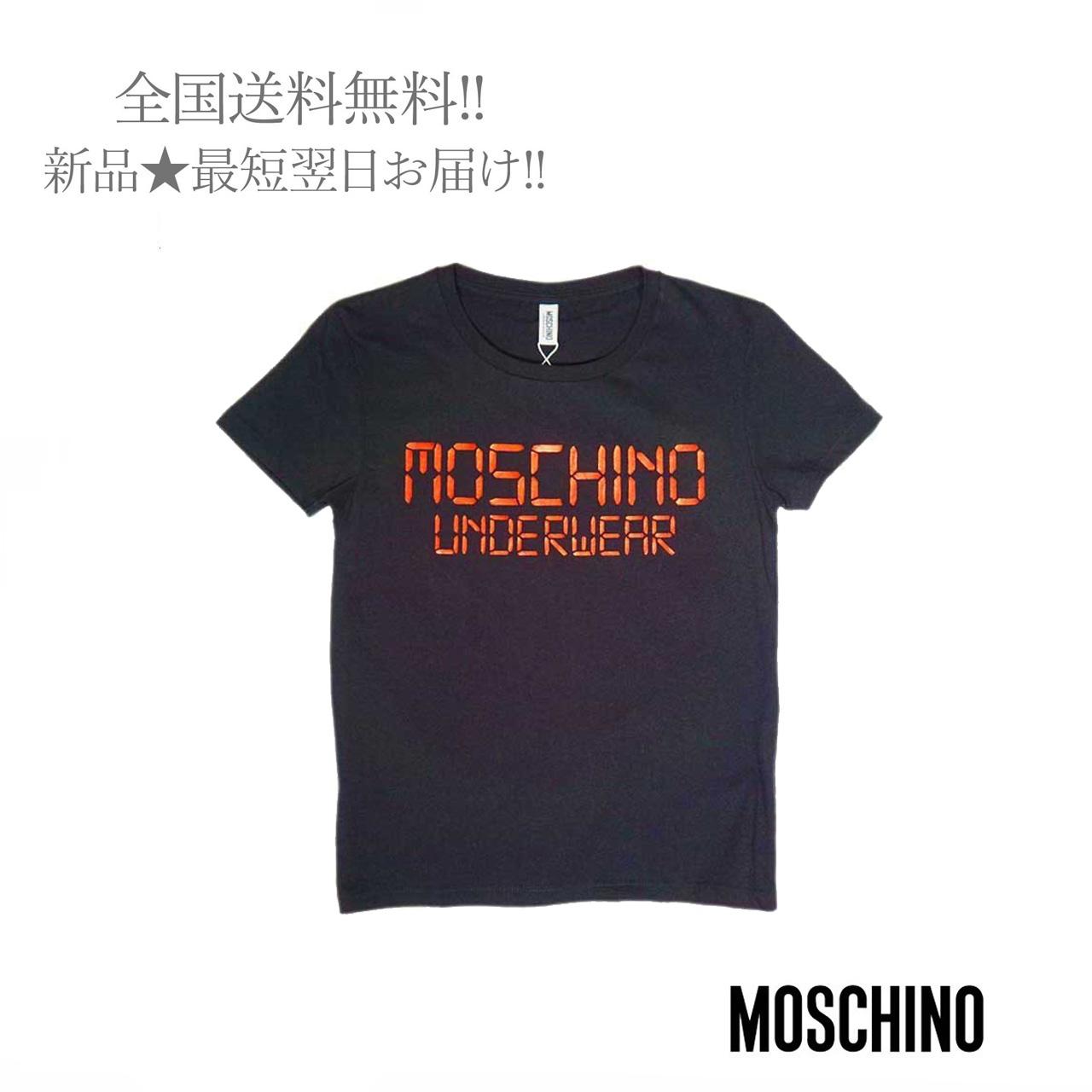 スーパーセール期間限定 安心の定価販売 MOSCHINO モスキーノ Tシャツ デジタルロゴ レディース 女 XL S ブラック 新品