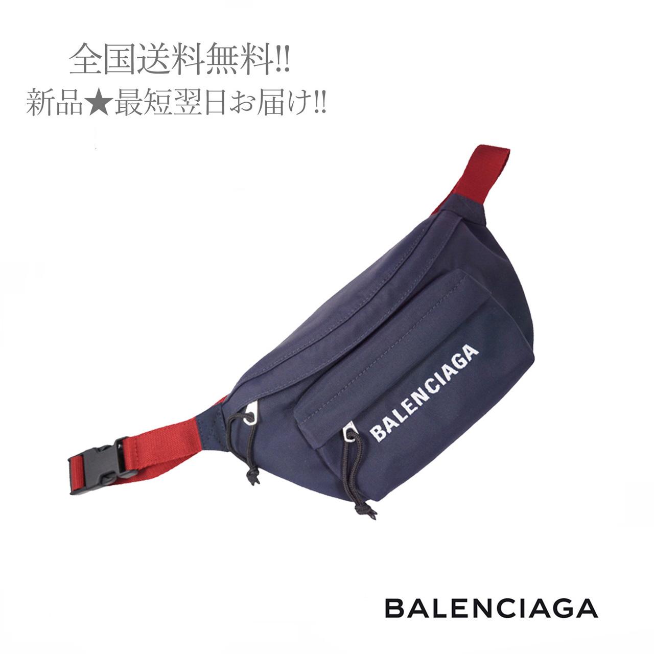 ◆高品質 BALENCIAGA バレンシアガ ベルトバッグ WHEEL BELT 高級な PACK ウィール ロゴ イタリア製 S メンズ ネイビー × 新品 レッドベルト 男 4370