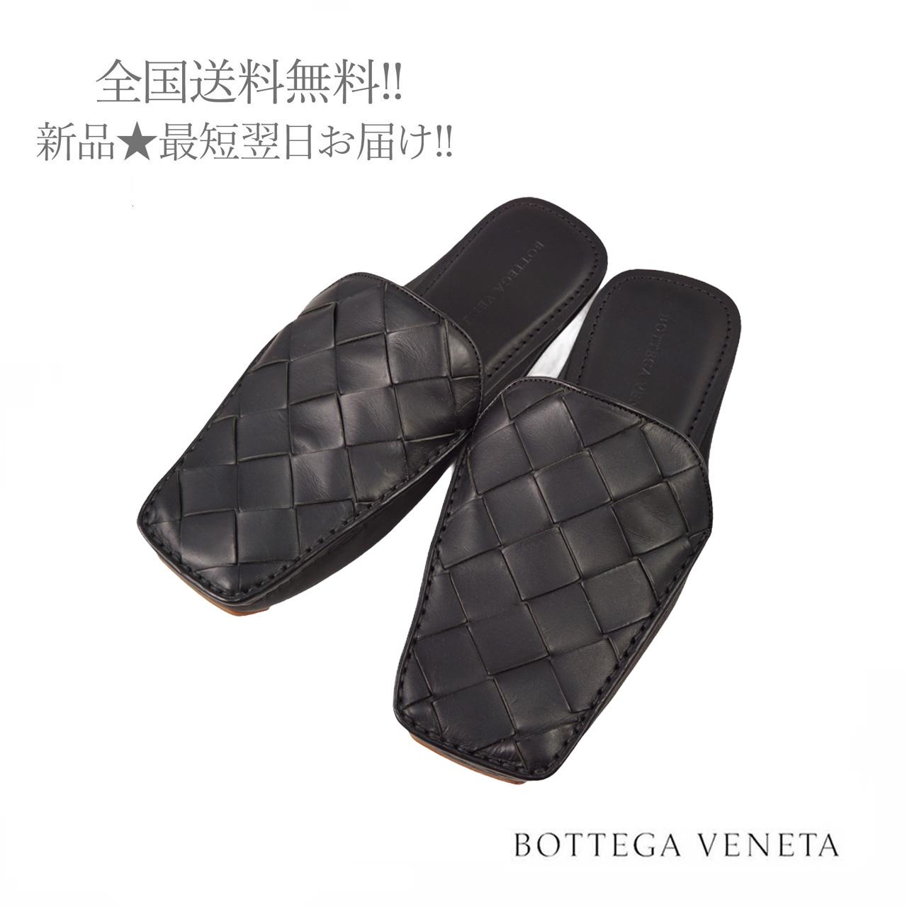 BOTTEGA VENETA ボッテガヴェネタ イタリア製 レザー イントレ 新色 サンダル メンズ 1000 ブラック 男 新品 訳あり品送料無料 42