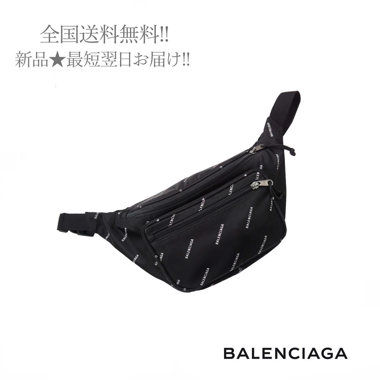 BALENCIAGA バレンシアガ ベルトバッグ デポー 流行 ショルダーバッグ エクスプローラー Logos ロゴ 男 ブラック メンズ イタリア製 1060 新品