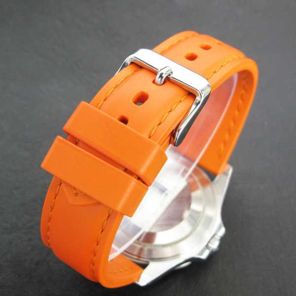 Natural rubber watch strap with stitch ORANGE 20mm