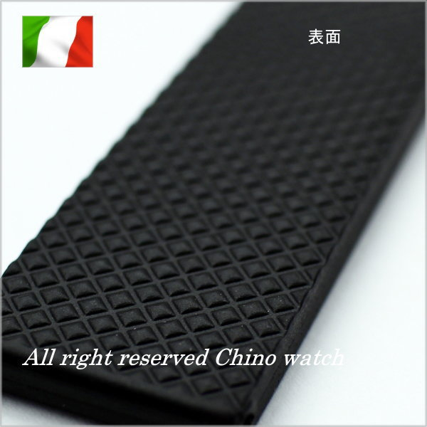 Natural rubber watch strap with Dyployant clasp BLACK