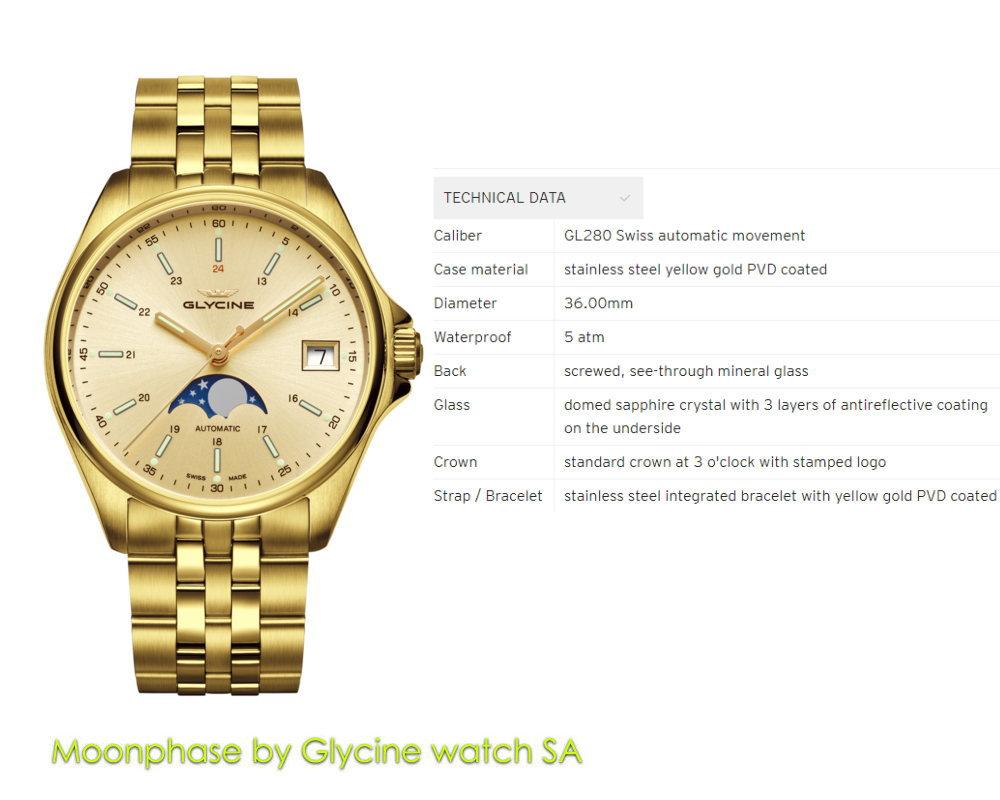 グリシン コンバット ムーンフェイズ GL0247 YGPVD 36mm 自動巻き GLYCINE メンズ ブランド 腕時計