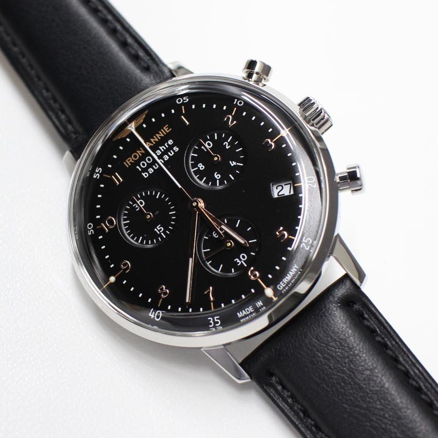 ドイツ製 アイアンアニー IRON ANNIE バウハウス 100周年記念 流通限定モデル 5096-2QZ 黒 クロノグラフ クォーツ ドイツ時計 腕時計 送料無料