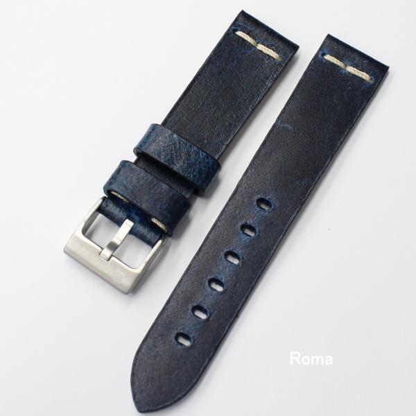イタリア製 ヴィンテージレザー 時計ベルト コラレブ ローマ 20/22ミリ ブルー