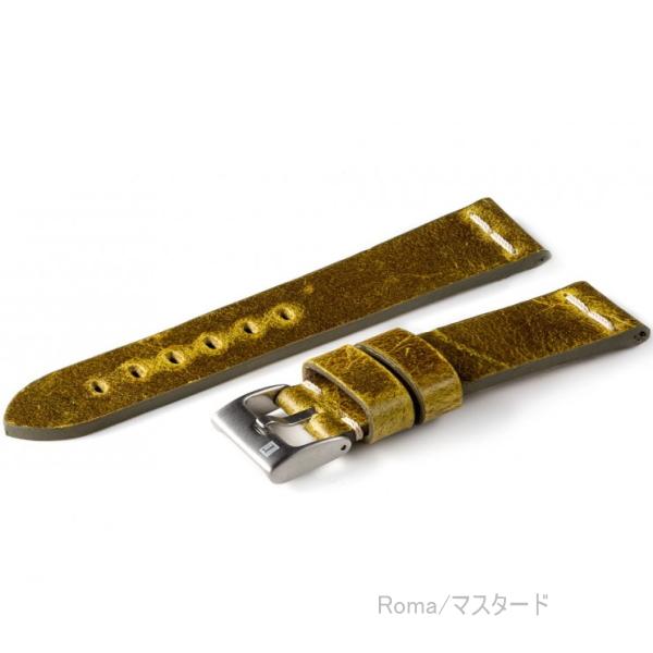 イタリア製 ヴィンテージレザー 時計ベルト コラレブ ローマ 20/22ミリ マスタード