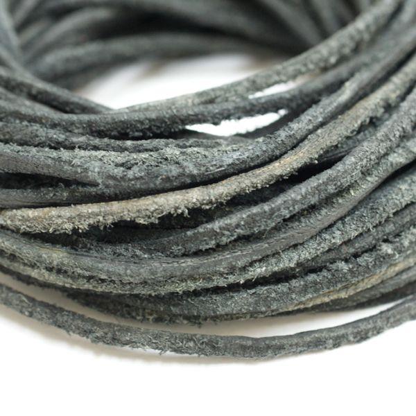 本革 ラフ紐 2mm ブラック 100Mロット まとめ買い 卸売 皮ひも 黒 グレー 革紐 皮紐 革ひも レザーコード スウェード ダメージ