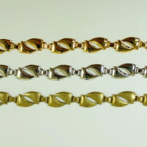 年間定番 デザインが特徴的なプレスチェーン プレスチェーン PB-206 1m ゴールド 卓抜 ロジウム シルバー アンティーク 鎖 ハンドメイド 古美 メッキ 真鍮 金