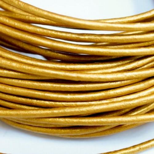 本革 丸紐 2mm ゴールド 100Mロット まとめ買い 卸売 皮ひも 金 革紐 皮紐 革ひも レザーコード