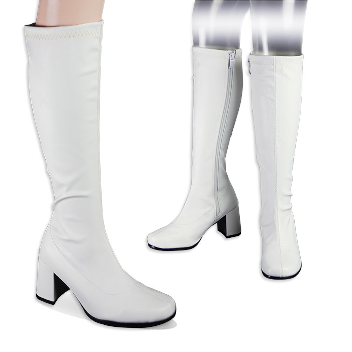 Large stock GOGO boots white stretch knee high boots (women's knee high boots knee length legs) chunky heel size side zipper (side DIP) color is matte