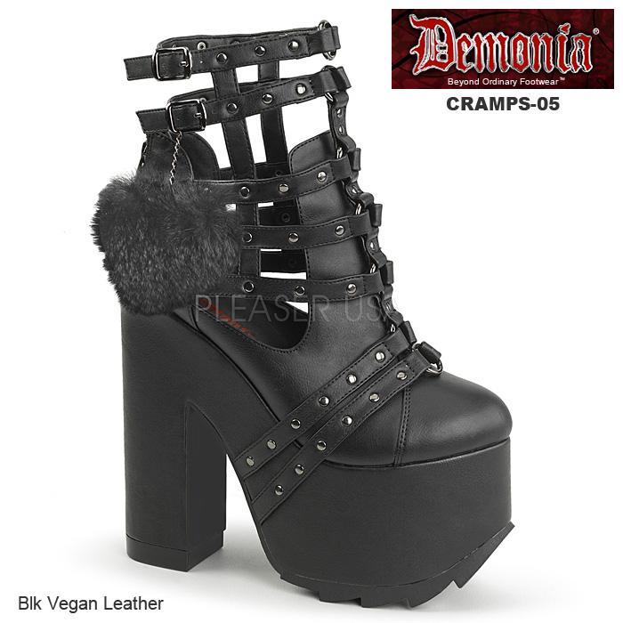 DEMONIA(デモニア) CRAMPS-05 厚底ショートブーツ ふさふさハートチャーム 太ヒール チャンキーヒール レディース 靴 送料無料◆在庫処分
