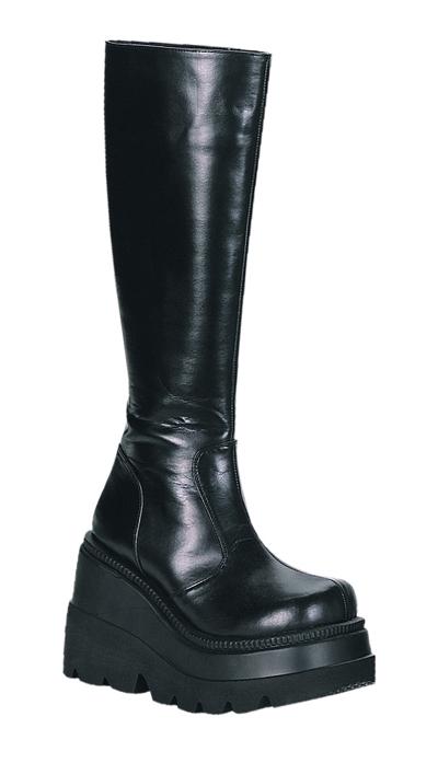 送料無料 DEMONIA by Pleaser (デモニア プリーザー)ゴスロリ系!シンプルなデザインの厚底ブーツ/ソリッドヒール/つや消し黒(Shaker-100)
