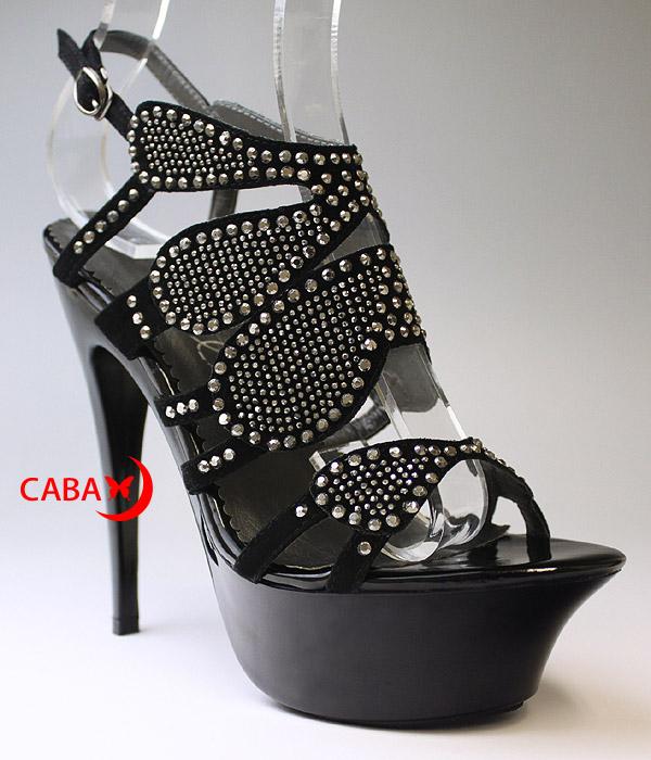 送料無料 Ellie Shoes エリーシューズ/ゴージャスなスタッズストラップ付きハイヒールサンダル/厚底/アンクルストラップ付き(687-MIRANDA-BLK)