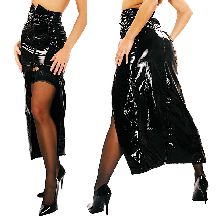 フロントオープン 2重ベルト付き エナメル ロングスカート コスプレ 衣装 ★LD-1218◆在庫処分
