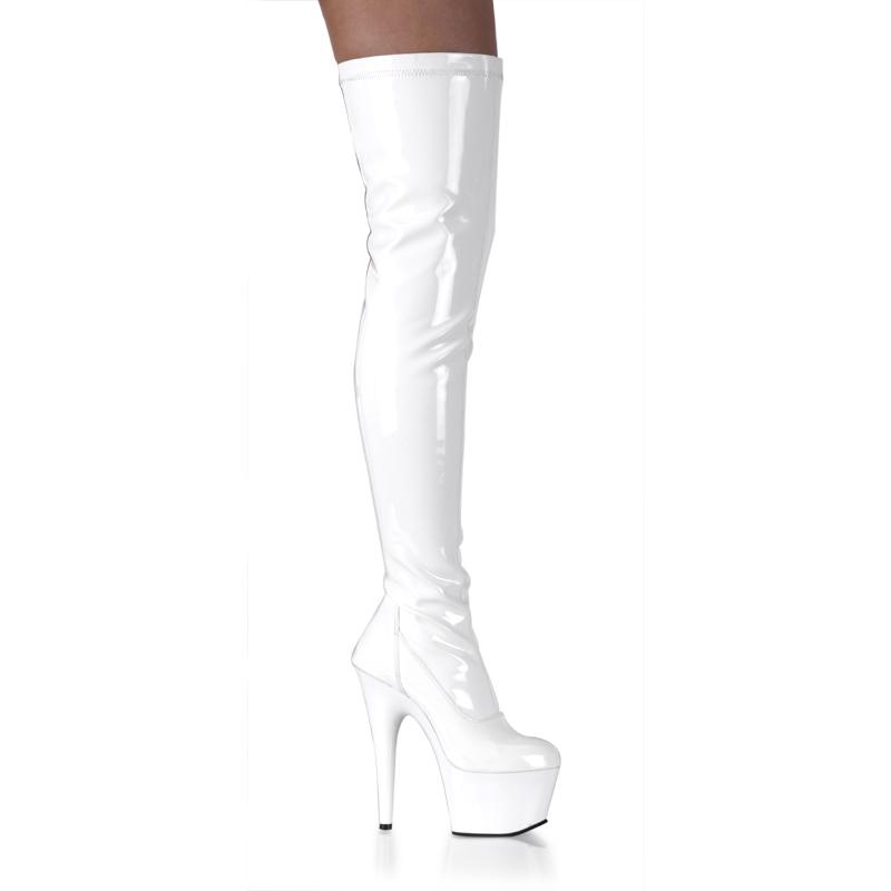 ロングブーツ 送料無料 Pleaser プリーザー オーバーニー ブーツ ひざ上丈 厚底 エナメル ホワイト 白 ハイヒール 美脚 レディース 靴 大きいサイズあり◆即納