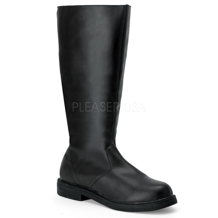 ブーツ メンズ ローヒール 即納 送料無料 Pleaser(プリーザー) FUNTASMA 靴(シューズ) 男性用 ニーハイブーツ ひざ下丈ロングブーツ つや消し黒 ブラック CAPTAIN-100-BLKPU