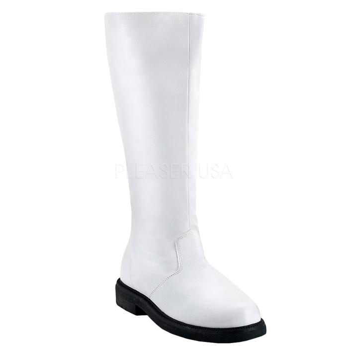 ブーツ メンズ ローヒール 即納 送料無料 Pleaser(プリーザー) FUNTASMA 靴(シューズ) 男性用 ニーハイブーツ ひざ下丈ロングブーツ つや消し白 ホワイト CAPTAIN-100-WHTPU
