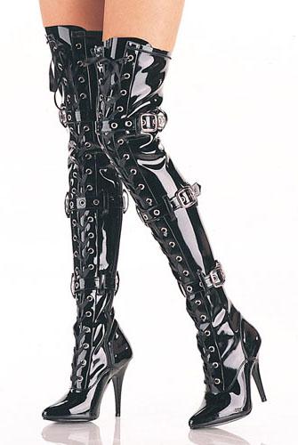 送料無料 Pleaser(プリーザー)サテンのレースアップ/オーバーニーロングブーツ/3連バックル/エナメル黒(Seduce-3028-BLKPAT)
