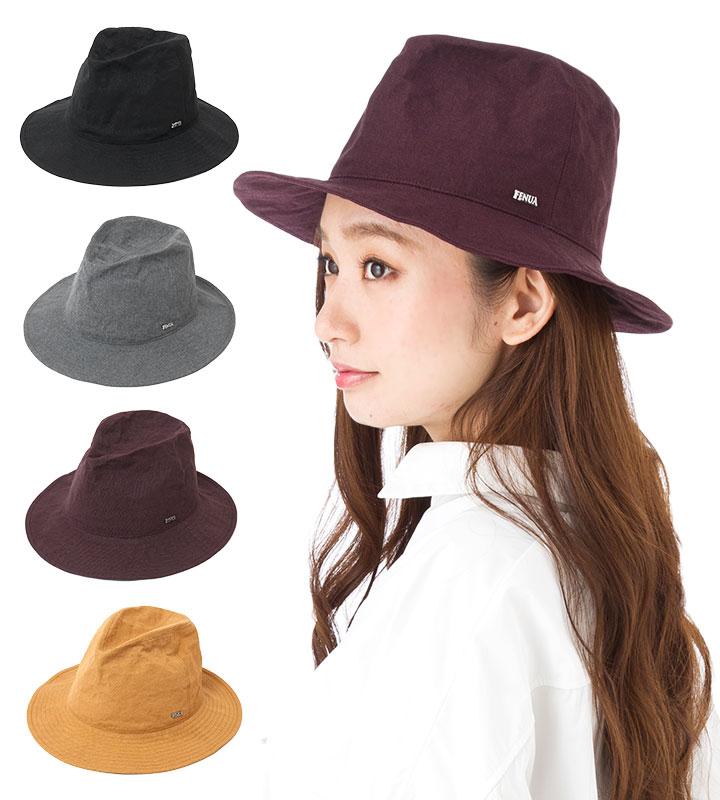帽子 レディース 布帛 つば広 中折れ ハット フェヌア FENUA ALUCOT 全4色