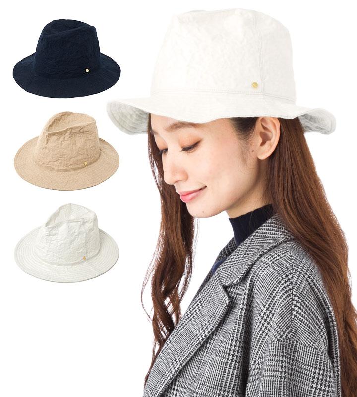 帽子 レディース 布帛 つば広 中折れ ハット フェヌア FENUA ALUWOOL 全3色