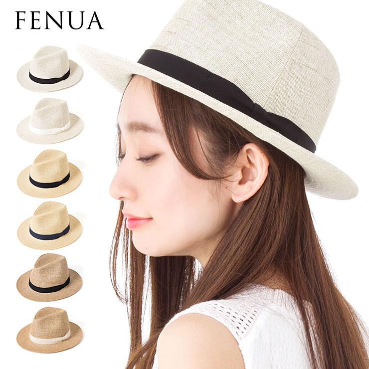 帽子 レディース 麦わら帽子 中折れ ハット つば広 日本製 フェヌア PESHI FENUA