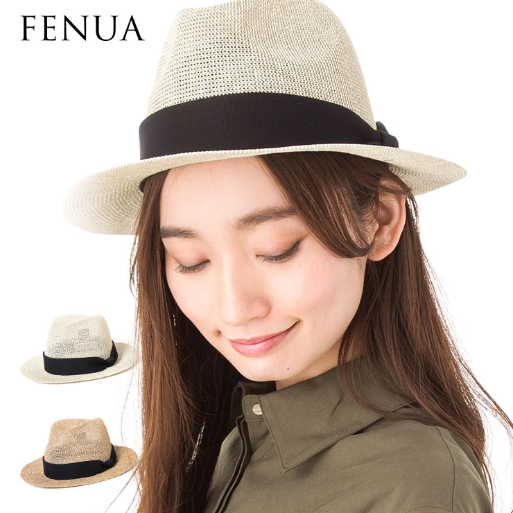帽子 レディース 中折れ つば広 メッシュの網目が涼しげ 中折れつば広ハット フェヌア