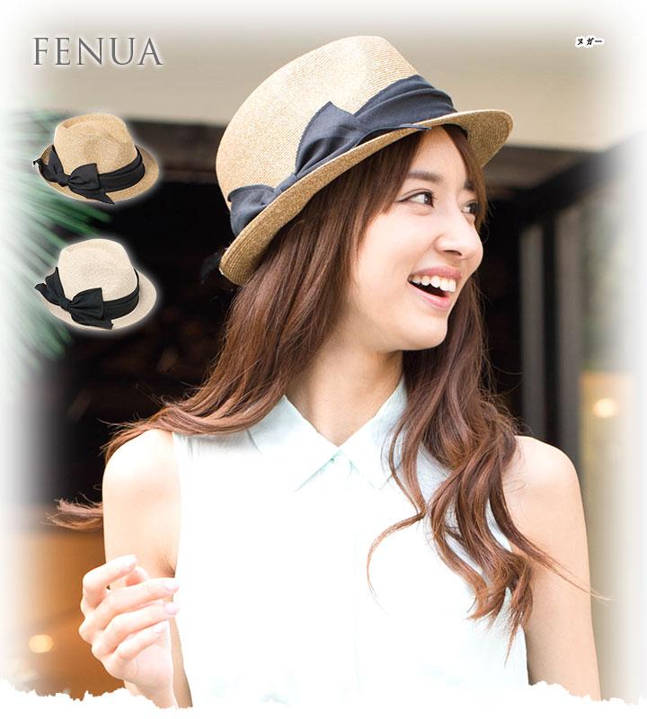 帽子 レディース 麦わら帽子 中折れ ハット フェヌア PESHI NURI 中折れブレード帽