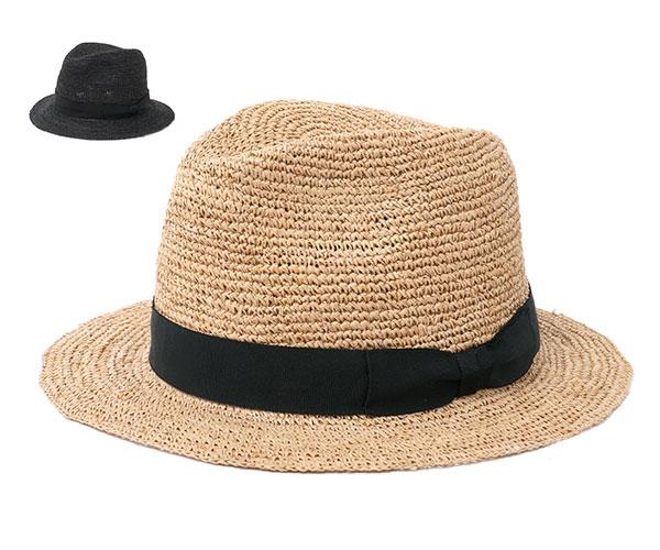 帽子 レディース 中折れ 麦わら帽子 フェヌア HORA RIPE リボン ラフィア ストローハット