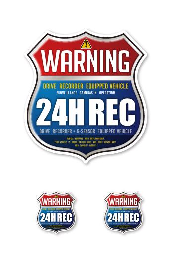 送料無料 ドラレコ ステッカー ドライブレコーダー 通信販売 耐水 耐光 屋外用 3枚セット 車用 煽り運転 ドライブレコーダー搭載車用警告ステッカーインターステートタイプ24H REC 付与