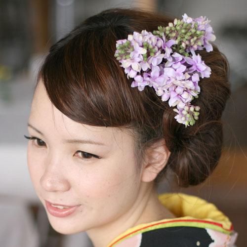 ライラックの髪飾り【紫】【ケース付】結婚式・花嫁さん