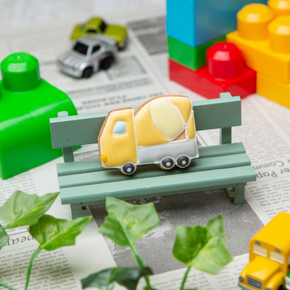 乗り物クッキー【コンクリートミキサー車】アイシングクッキー プチギフト かわいい お菓子 名入れ 車 クルマ 働く車 カー 交通 工事車両