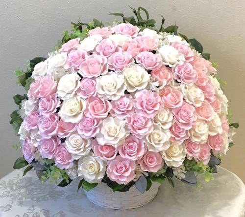 プリザーブドフラワー バラ 薔薇 【送料無料】 プリザーブドフラワー ピンクロマンスバスケットお祝い