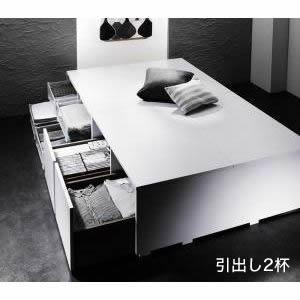 ★ポイントUp6.5倍★衣装ケースも入る大容量デザイン収納ベッド SCHNEE シュネー ベッドフレームのみ 引出し2杯 セミダブル[L][00]