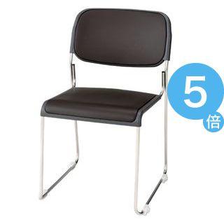 ★ポイントUp5倍★ジョインテックス 会議椅子(スタッキングチェア/ミーティングチェア) 肘なし 座面:合成皮革(合皮) FRK-S2LN BR ブラウン 【完成品】[21]