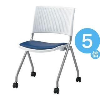★ポイントUp5倍★ジョインテックス 会議椅子(スタッキングチェア/ミーティングチェア) 肘なし 座面:合成皮革(合皮) キャスター付き FJC-K6L NV 【完成品】[21]