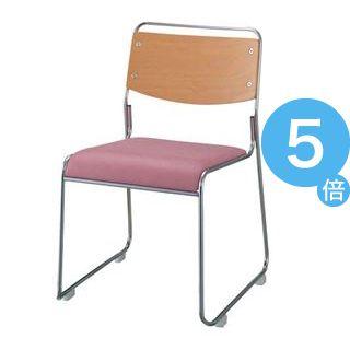 ★ポイントUp5倍★ジョインテックス 会議椅子(スタッキングチェア/ミーティングチェア) 肘なし 座面:合成皮革(合皮) FSN-7L ピンク 【完成品】[21]