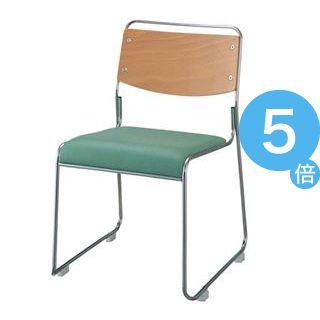 ★ポイントUp5倍★ジョインテックス 会議椅子(スタッキングチェア/ミーティングチェア) 肘なし 座面:合成皮革(合皮) FSN-7L グリーン 【完成品】[21]